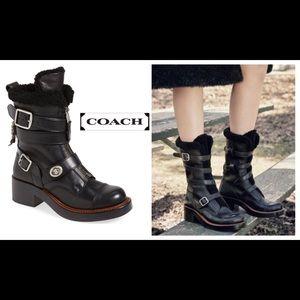 Coach Women's Black Zipped Shearling Moto Boots